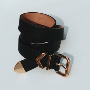 J. Crew Black leather belt with gold buckle